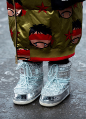 shoes,tumblr,nyfw 2017,fashion week 2017,fashion week,streetstyle,metallic,metallic shoes,boots,silver boots,winter boots,coat,printed coat,printed long coat,long coat