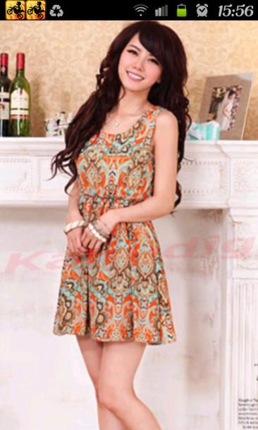 dress batik batik print print short dress cute dress yellow dress blue dress brown dress