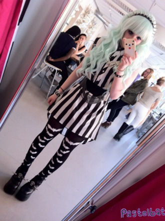 blouse striped dress striped shirt pastel goth pants hat shoes dress pastel kawaii cute creepy grunge soft grunge black dark stripes lovely