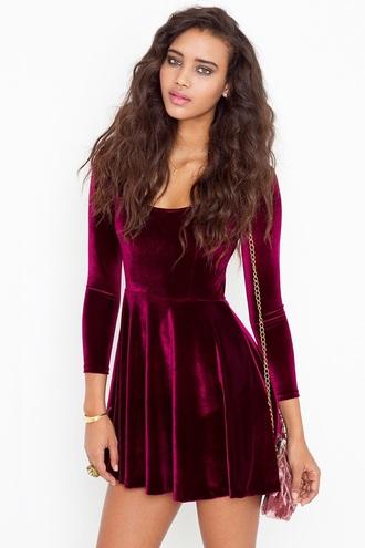 dress velvet dress skater dress long sleeves long sleeve dress red velvet dress burgundy dress
