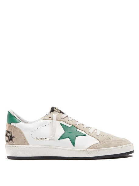 GOLDEN GOOSE DELUXE BRAND top ball leather suede white green