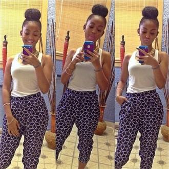 pants blue skirt white tank top bun drop crotch pants phone cover earrings bracelets