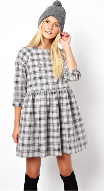 Dress Checkered Grey Black Smock Hipster White