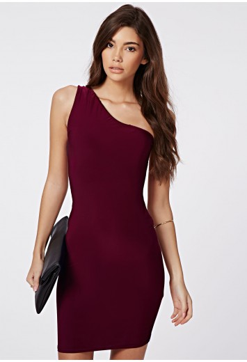 Orla slinky one shoulder mini dress burgundy