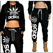sweater,cropped hoodie,hoodie,black crop top,adidas wings,style,fashion,swag,sweatpants,shirt,addias shirt,addias pants