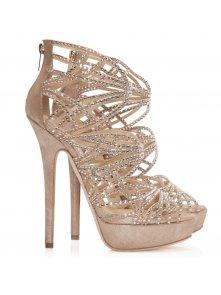 Damek beige suede and crystal embellished sandals p10880