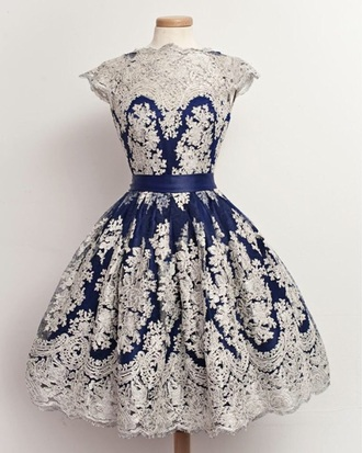 dress blue and white lace dress floral dress prom dress