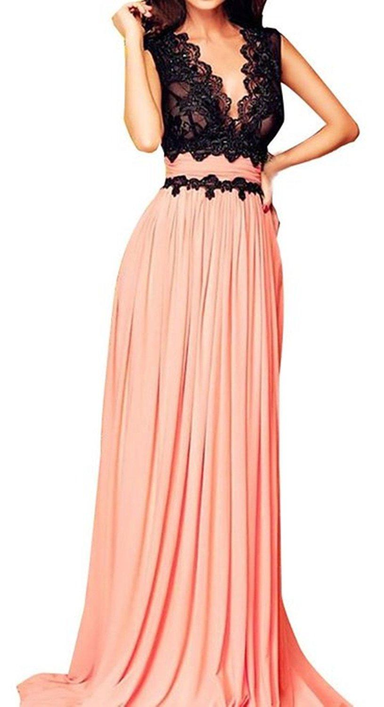 Amazon.com: Cfanny Women's V Neck Lace Top Long Maxi Evening Dress: Clothing