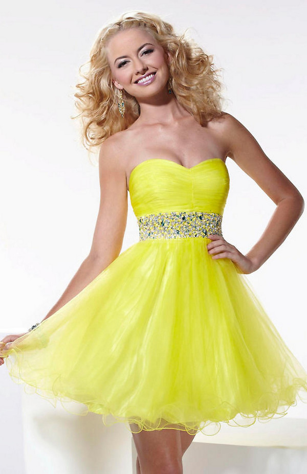prom dress cocktail dress yellow dress cheap dress women girl