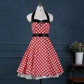 dress,vintage dress,rockabilly pinup polka dot halter dress,cocktail dress