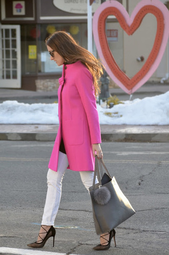 classroom couture blogger leather bag pink coat white jeans heels bag accessories grey bag fur keychain coat jeans pumps high heels high heel pumps black pumps lace up heels fall outfits