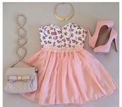 blouse,floral top,pink skirt,shoulder bag,high heels,skirt,bag,shoes