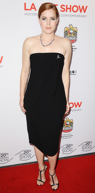 la art show 2015 amy adams black dress bustier dress