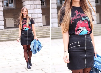 fabesfashion blogger shirt tights skirt shoes jacket zipped skirt the rolling stones black skirt denim jacket ankle boots spring outfits