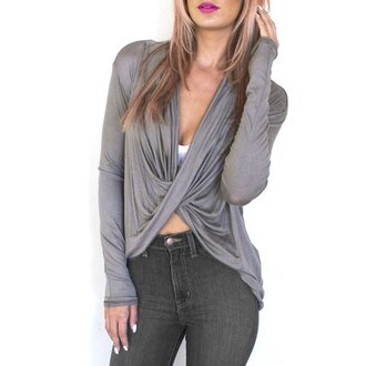 top grey fashion style long sleeves trendy fall outfits cool casual rose wholesale-jan