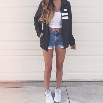 jacket nike black stripes shorts white summer swag windbreaker two stripes nike jacket nike air black jacket black and white bag adidas street blue denim coachella festival concert ripped blue jacket denim shorts nail accessories navy