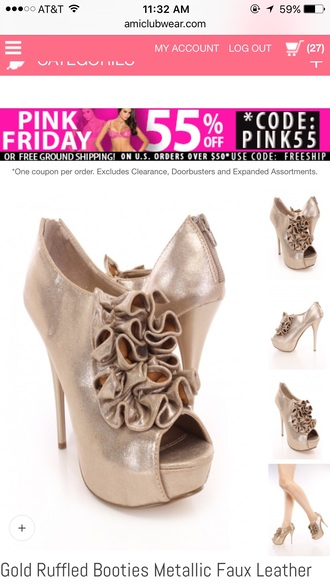 shoes heels ruffle gold heels