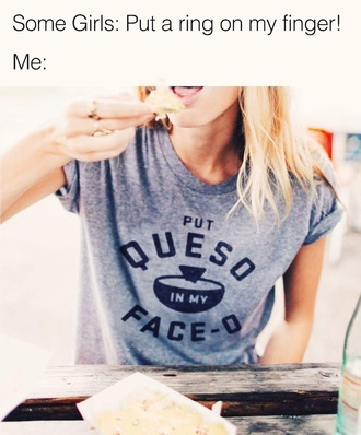 shirt grey t-shirt quote on it print food