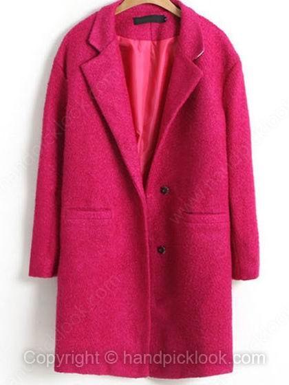 Fuchsia Notch Lapel Long Sleeve Pockets Coat - HandpickLook.com