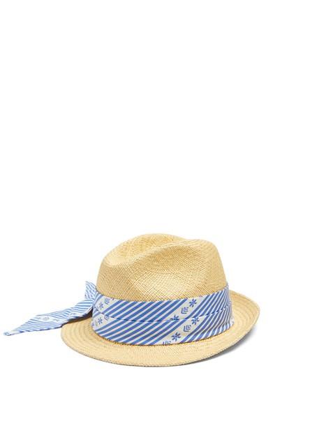 MIU MIU Cotton scarf-embellished straw hat in blue
