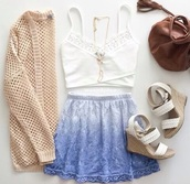 cardigan,shirt,shoes,skirt,top,blue skirt,dip dyed,loose,bag,wedges,blue ombré skirt,blue skater skirt