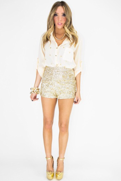 sequin party girl white shirt