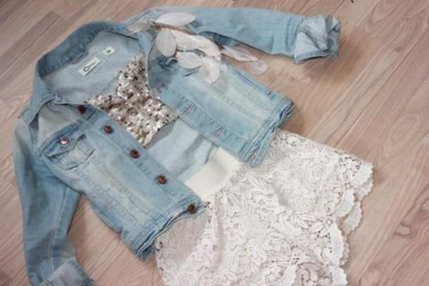 shorts lace summer white clothes top jacket shirt bustier bralette denim jacket sequins crochet denim jacket light blue jeans