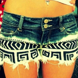 shorts clothes aztec black and white jeans