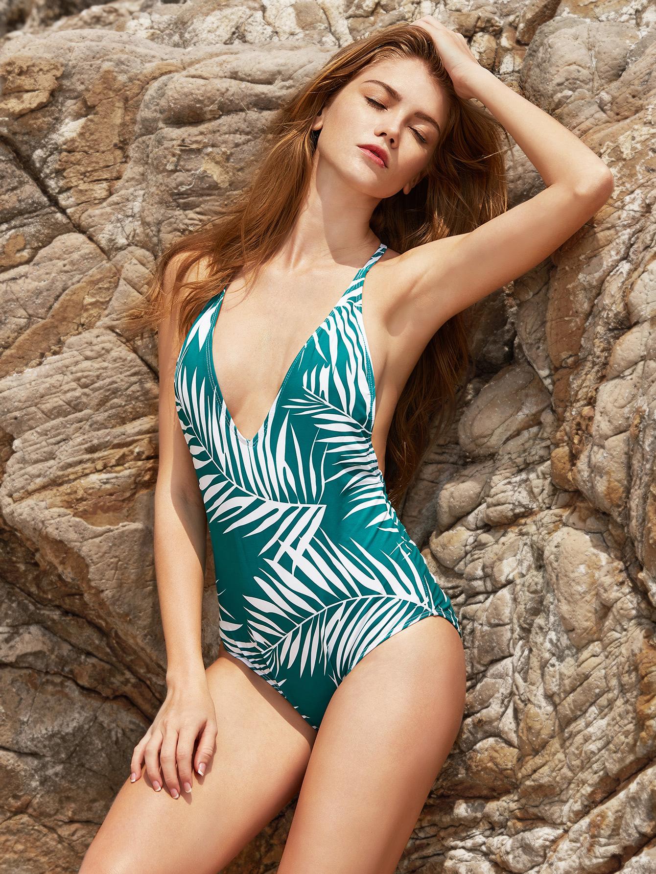 0e55a3f2b5 Leaf Print V Neck Open Back One-Piece Swimwear -SheIn(Sheinside)