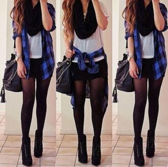 black scarf white top flannel black shorts black leggings cardigan scarf shorts shirt