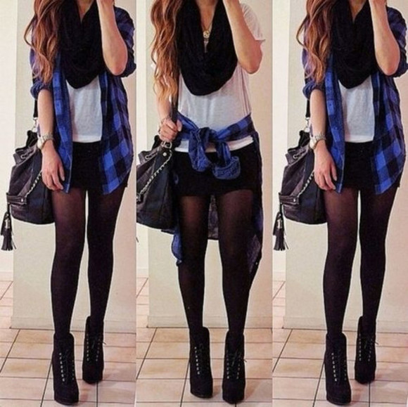black shorts black scarf white top flannel black leggings cardigan scarf