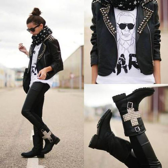 rock boots leather jacket sunglasses t-shirt