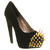 Jeffrey Campbell Battle Spike High Heel Black Suede Gold Spikes - High Heels