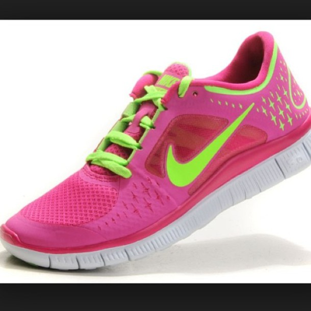 a950bb6830d3 shoes pink green neon nike free run nike fitness