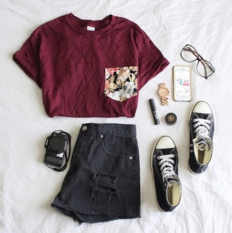 top wine-red flowers tumblr outfit shorts hipster pocket t-shirt burgundy sunglasses floral pocket t-shirt t-shirt shoes shirt blouse jeans