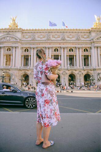 dress tumblr floral floral dress midi dress bag pink bag shoes slide shoes flats