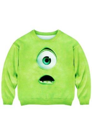 Amazon.com: Romwe Women's Green Monsyter Eye Pattern Design Polyester Sweatshirt-Green-M: Clothing