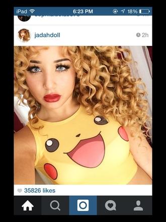 top jadah doll shirt pikapika pika yellow whereoget pokemon pikachu tank top cute top jadah doll makeup