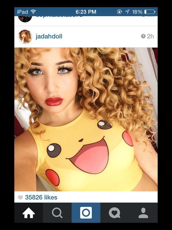 45043a36e70c7 top jadah doll shirt pikapika pika yellow whereoget pokemon pikachu jadah  doll tank top cute top.
