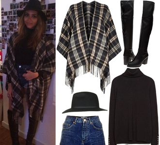 jade thirlwall hat boots cardigan poncho tartan outfit