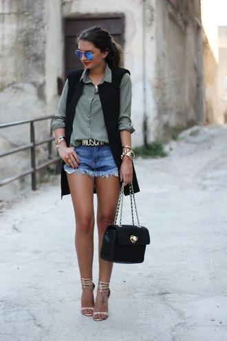 fashionhippieloves jacket shorts blouse belt shoes jewels bag sunglasses
