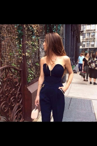 jumpsuit navy blue jumpsuit