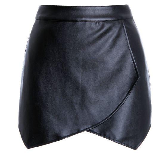 Leather geometric skirt