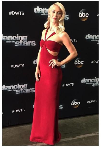 Dress Red Dress Gown Julianne Hough Maxi Dress Cut Out Dress