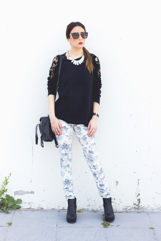 shoes and basics blogger floral pants printed pants black sweater