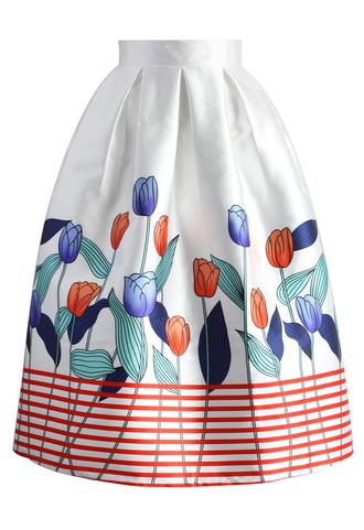 skirt stripe on tulips a-line midi skirt chicwish printed skirt a-line skirt midi skirt floral skirt summer skirt