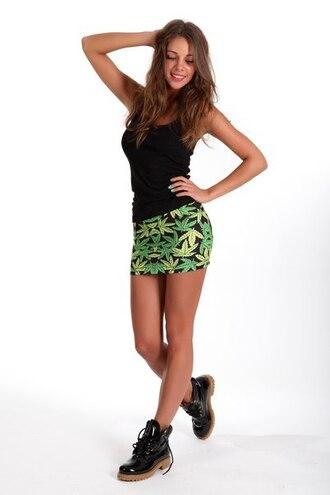 skirt mini skirt printed skirt short skirt sexy sexy skirt weed marijuana skirt marijuana print skirt high waisted skirt marijuana
