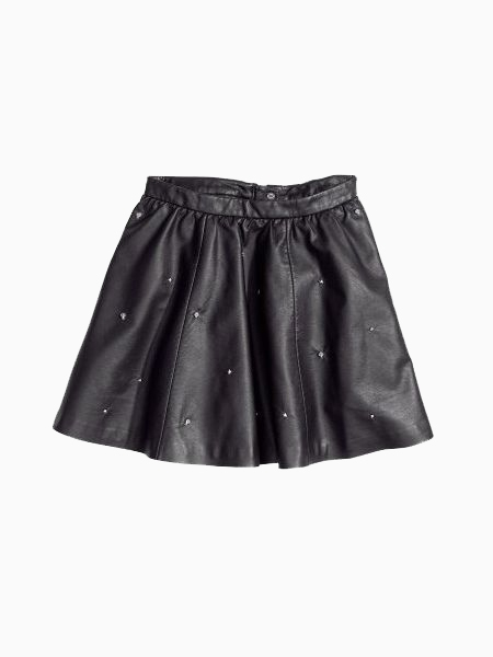 Leather Skirt With Skull Rivets | Choies