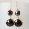 Onyx black earrings. black dangles. black chandeliers. jet black crystal chandeliers. black and gold on luulla
