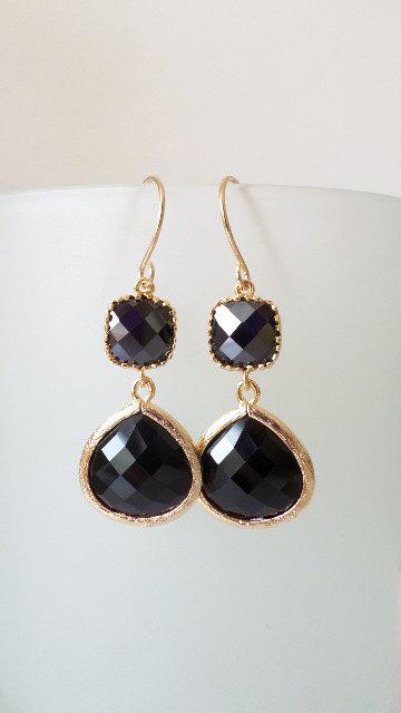 Onyx Black Earrings. Black Dangles. Black Chandeliers. Jet Black Crystal Chandeliers. Black And Gold on Luulla